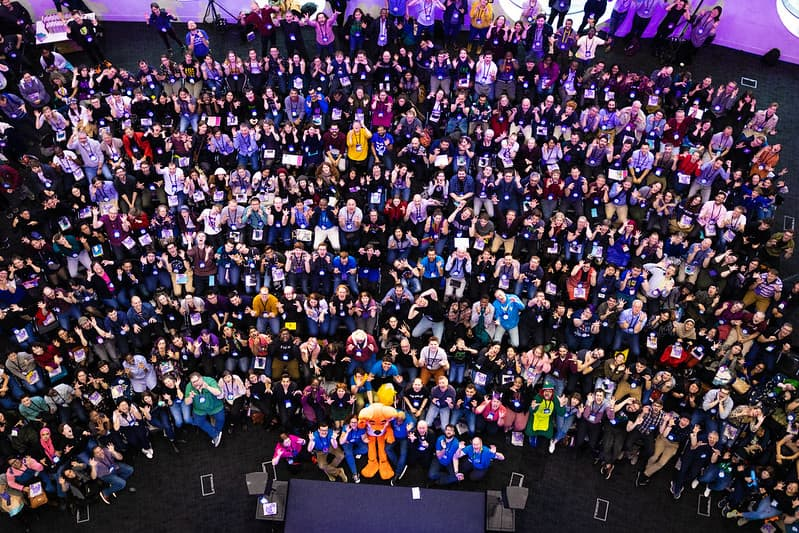 top down group photo of Mozilla Festival participants gathered at the main stage